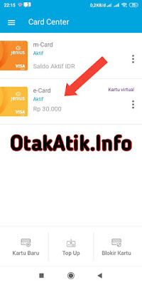 tulah tutorial singkat bagaimana cara untuk melakukan top up dari m-Card Jenius ke e-Card jenius. Cara ini akan sangat berguna tentunya untuk berbagai kebutuhan yang hanya bisa digunakan menggunakan e-Card. Salah satunya untuk verifikasi akun PayPal.