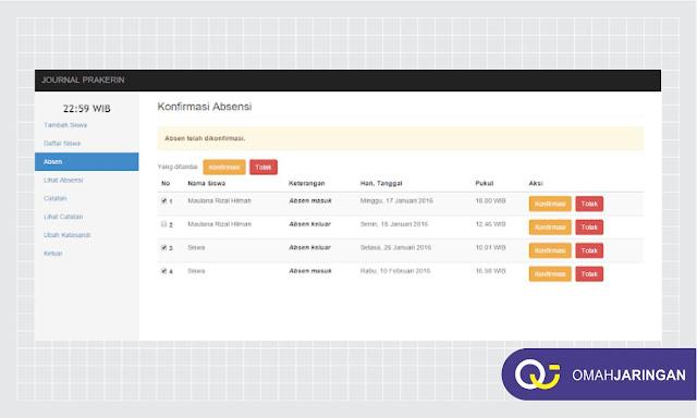 Dashboard Konfirmasi Absensi Siswa Review Aplikasi Absensi Berbasis Web PHP, MySQL, dan Codeigniter