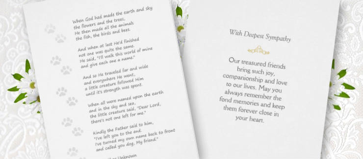 dog sympathy card poem God's name with Paw Prints