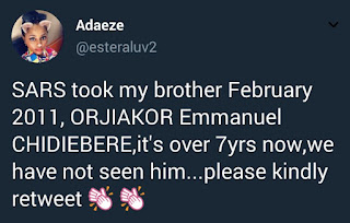 Twitter user says her brother hasn