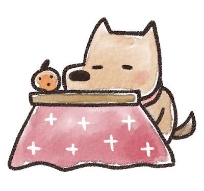 コタツでくつろぐ犬のイラスト(戌年)