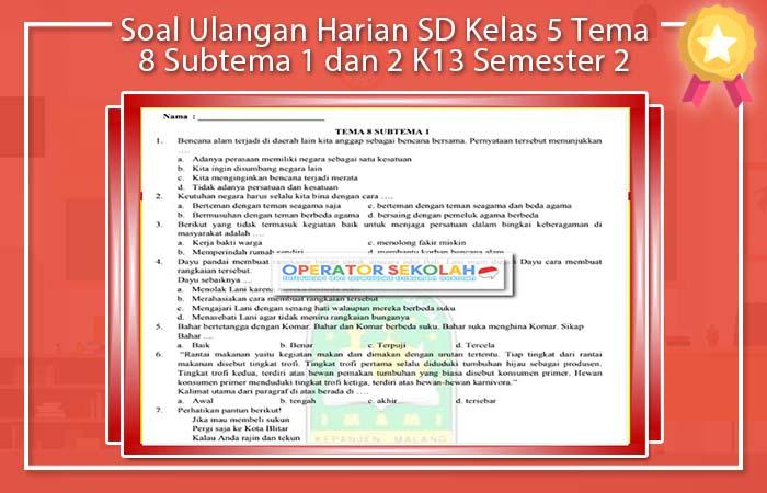 Soal Ulangan Harian SD Kelas 5 Tema 8