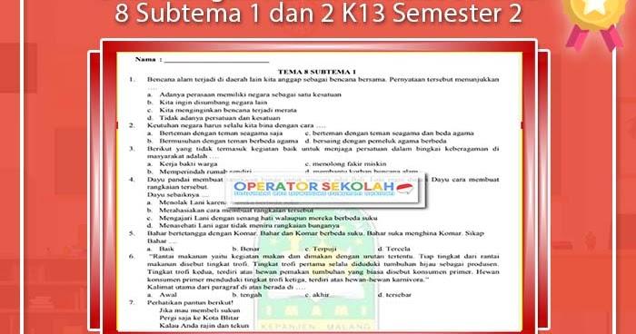 Soal Ulangan Harian Sd Kelas 5 Tema 8 Subtema 1 Dan 2 K13 ...