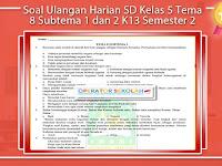 Soal Ulangan Harian SD Kelas 5 Tema 8 Subtema 1 dan 2 K13 Semester 2 Revisi 2017