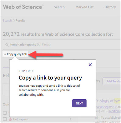 New Copy Query Link button allows you to easily share a link to your search.