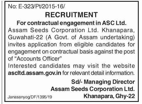 Assam Seeds Corporation Ltd Recruitment 2019-