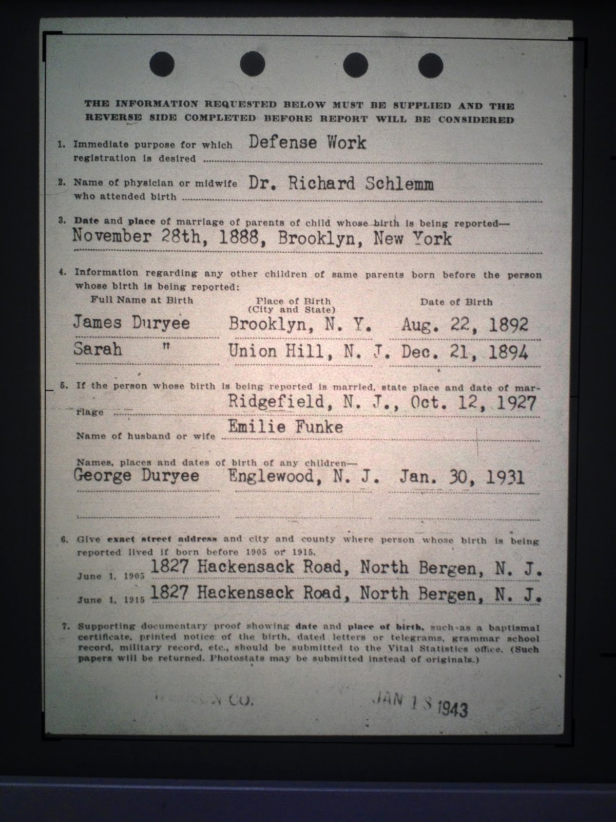 Family history research by jody duryea new jersey births george cowenhoven duryee born october 23 1899 in town of union hudson county new jersey aiddatafo Images