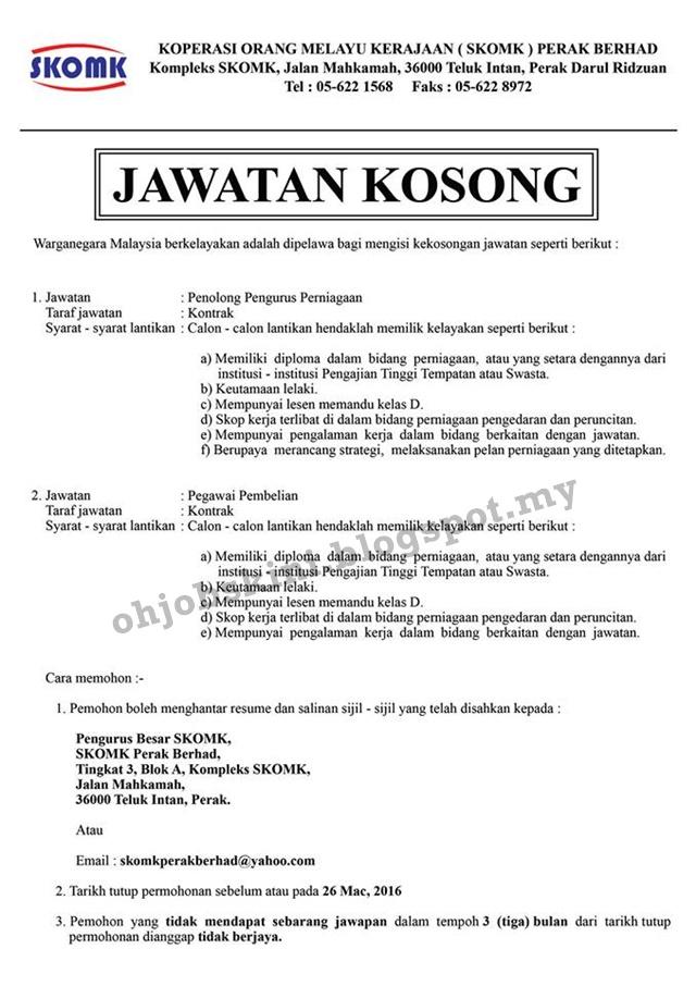 Jawatan Kosong Koperasi Orang Melayu Kerajaan (SKOMK) Perak Berhad