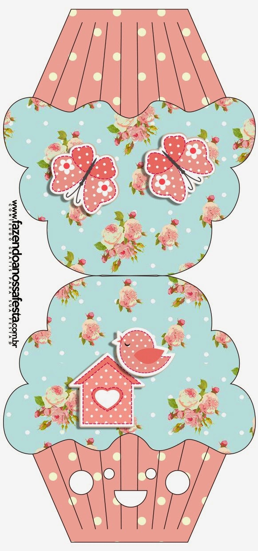 Tarjeta con forma de Cupcake para Imprimir Gratis de Pájaros y Mariposas.