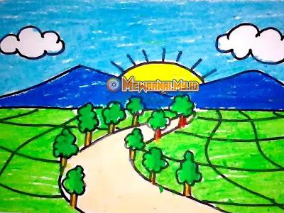 mewarnai alam pegunungan dengan crayon
