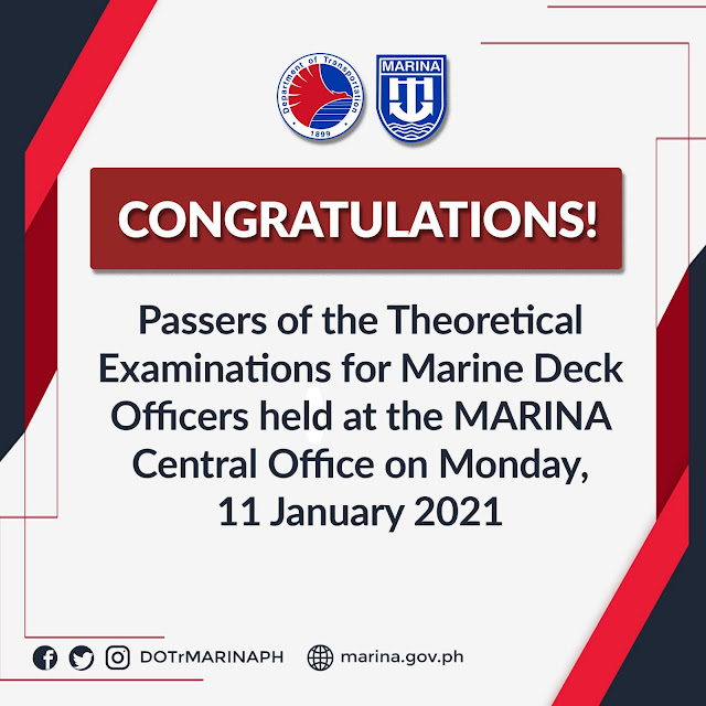 passers of the Theoretical Examinations for Marine Deck Officers conducted at the MARINA