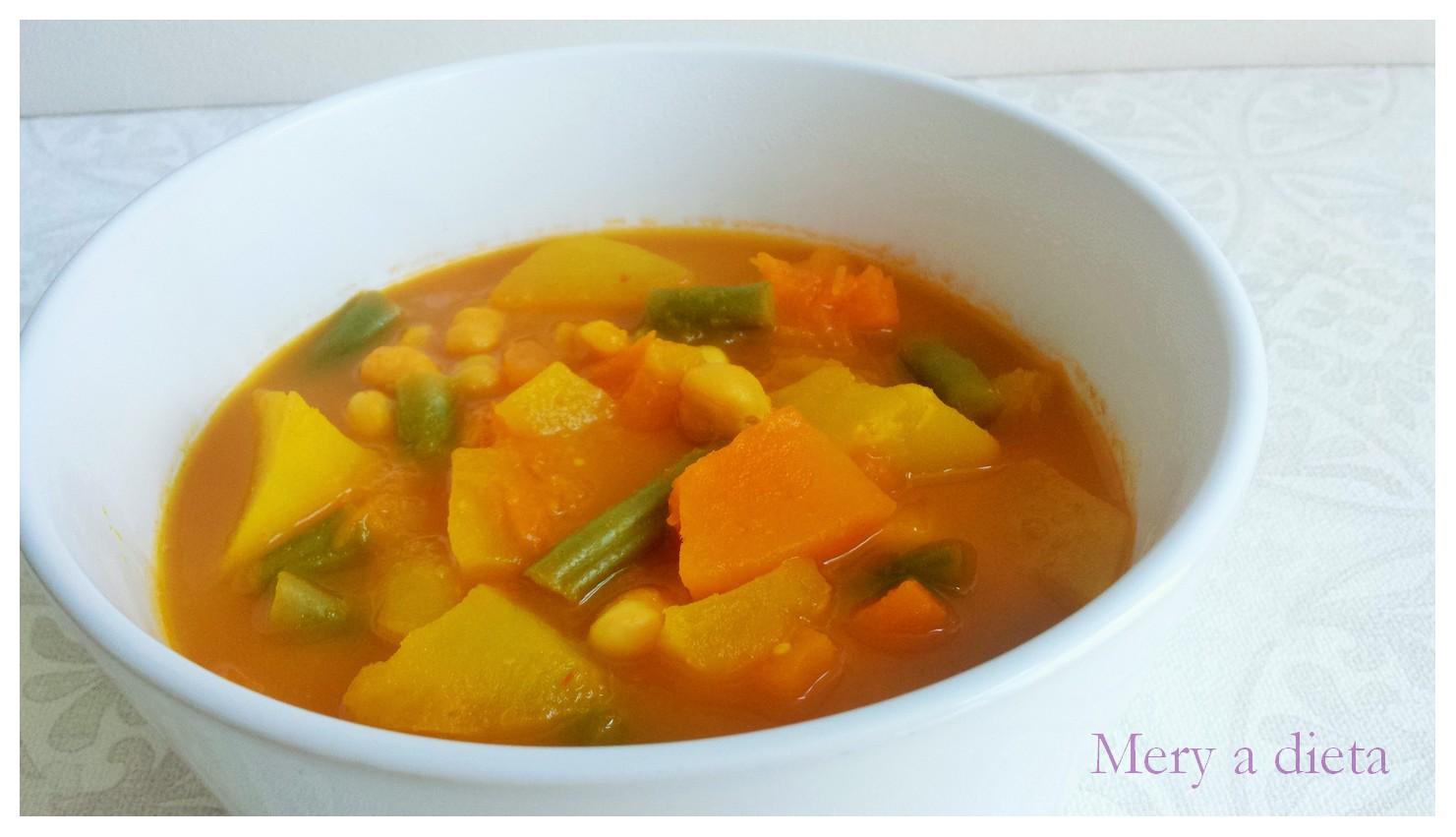 Mery a dieta con sp potaje con patata calabaza judias - Potaje de garbanzos y judias ...