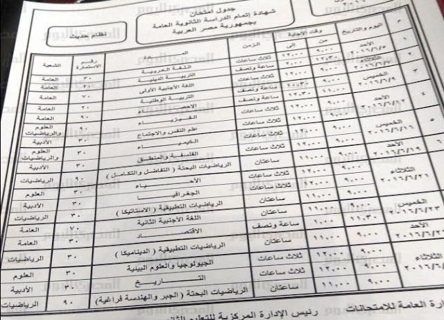 جدول الثانوية العامة