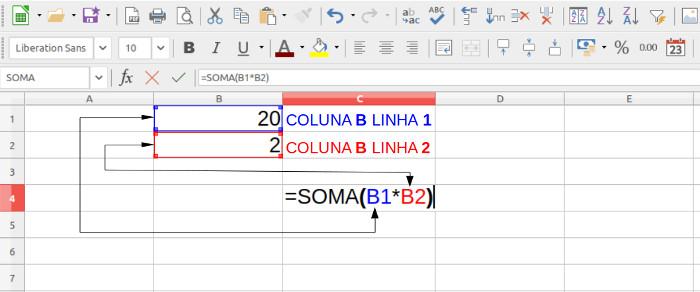formula soma e endereco de celula no calc