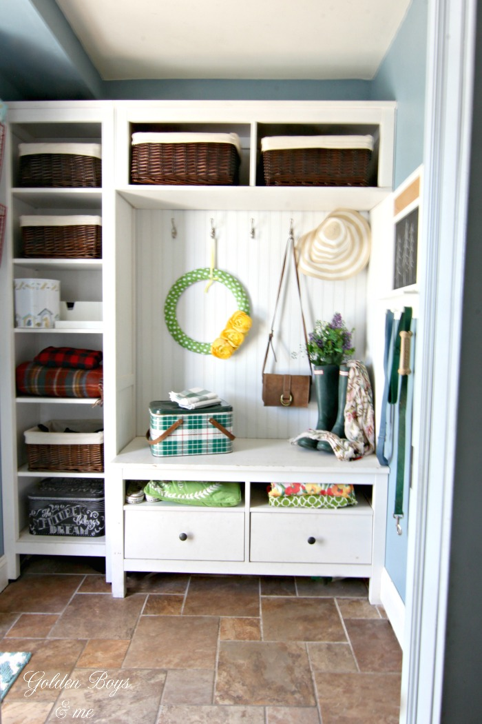 Small mudroom created with Ikea bookcases and bead board - www.goldenboysandme.com