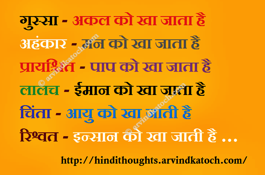 Hindi Thought Picture Message Wisdom Words on Anger, Greed, Regret