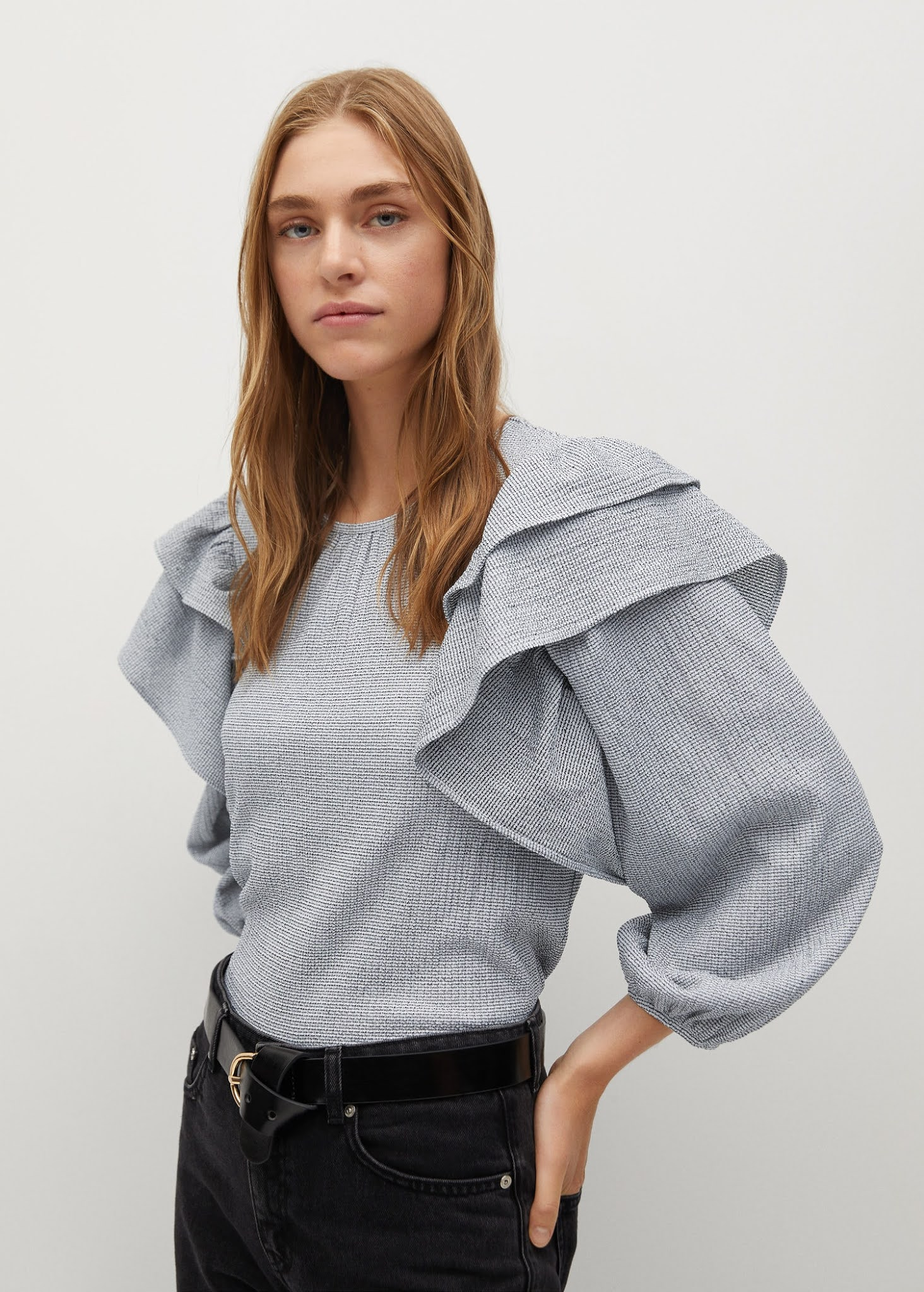 These Mango Tops Are Perfect for Zoom Meetings — Under $100 Ruffled Sleeve Top