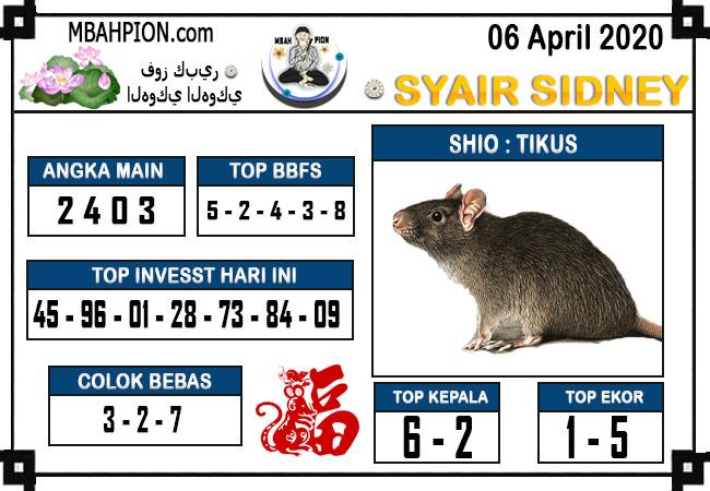 Syair Sidney Senin 06 April 2020 - Syair Mbah Pion
