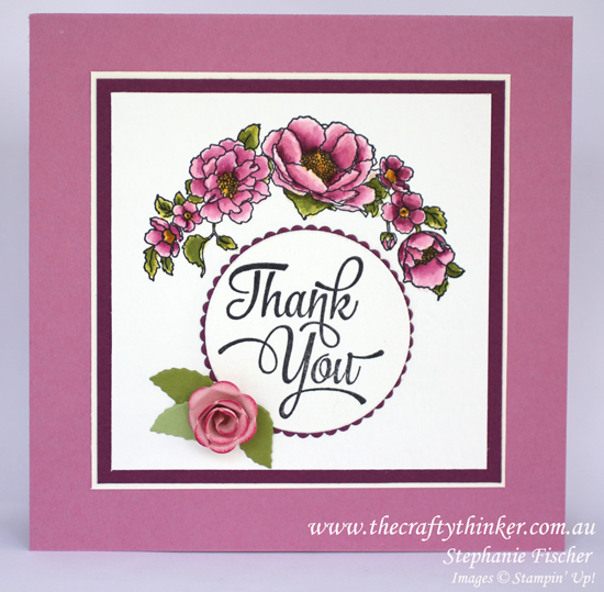 Stampin Up, #thecraftythinker, Timeless Love, Thank you card, 3D rose, Rose from Paisley framelit, Stampin Up Australia Demonstrator