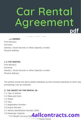 car rental agreement templates free download