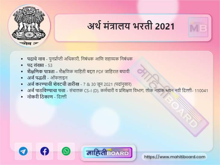 Finance Ministry Recruitment 2021