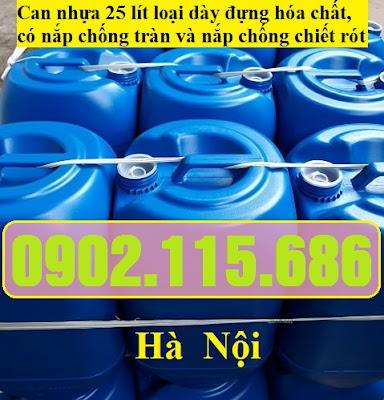 Can nhựa 25 lít, can nhựa 25 lít đựng hóa chất, can nhựa dày 25 lít, can nhựa đựng hóa chất, can nhựa 2 nắp, 2