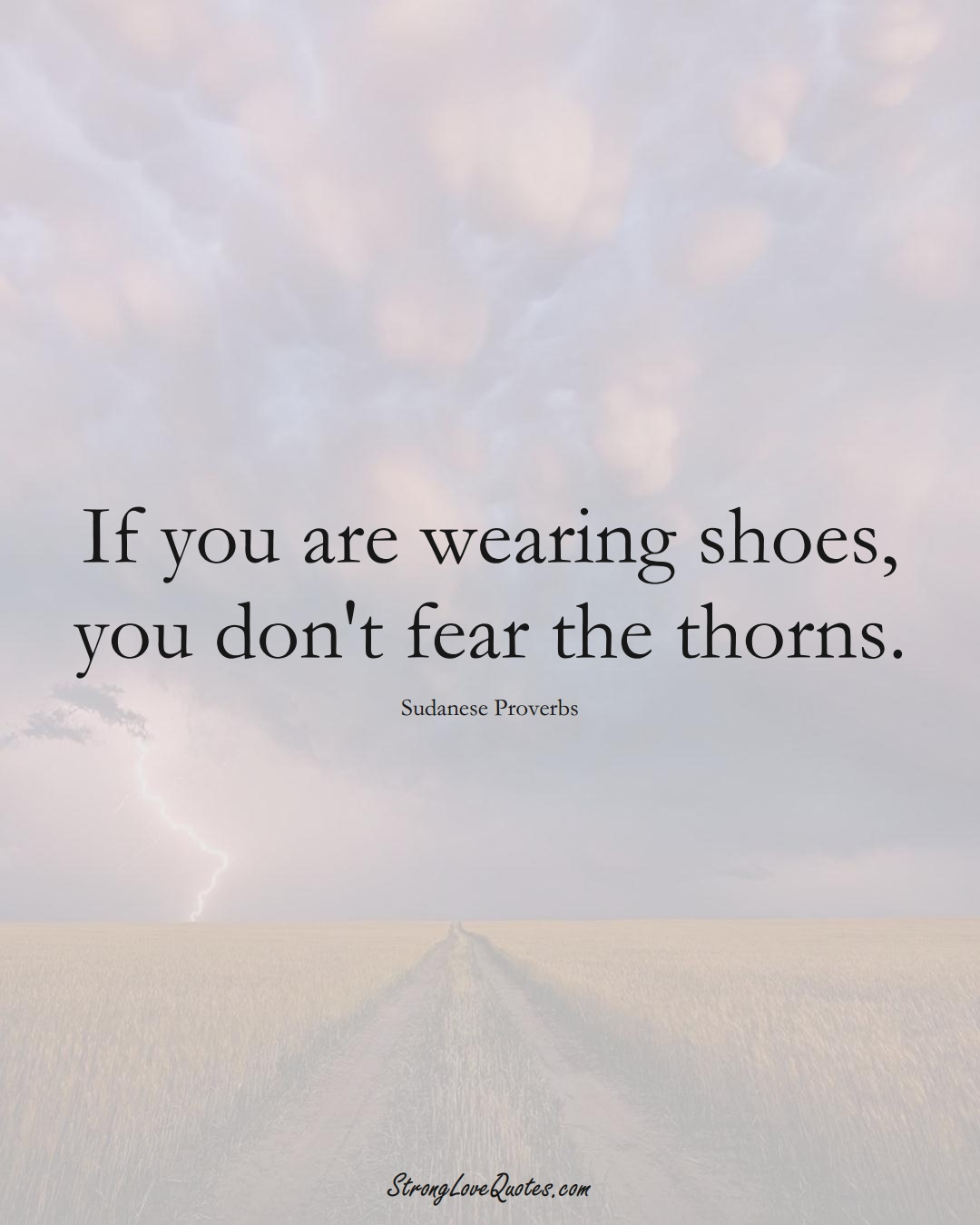 If you are wearing shoes, you don't fear the thorns. (Sudanese Sayings);  #AfricanSayings