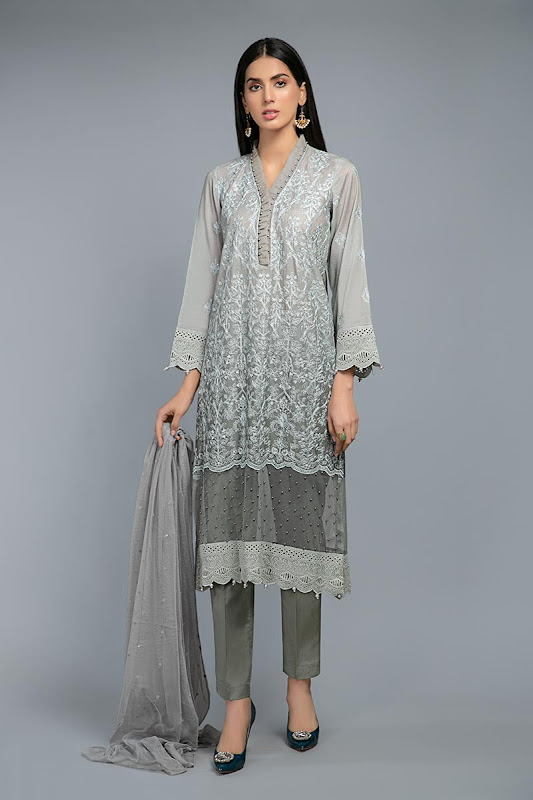 Maria B Greyish Blue color suit Lawn summer collection