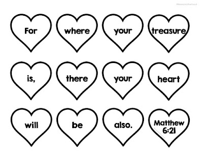 DIY heart memory verse banner for preschool, sunday school and homeschool Matthew 6:21