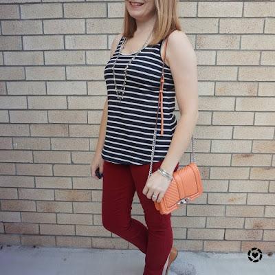 awayfromblue Instagram | black striped tank burgundy skinny jeans rebecca minkoff peach love crossbody bag