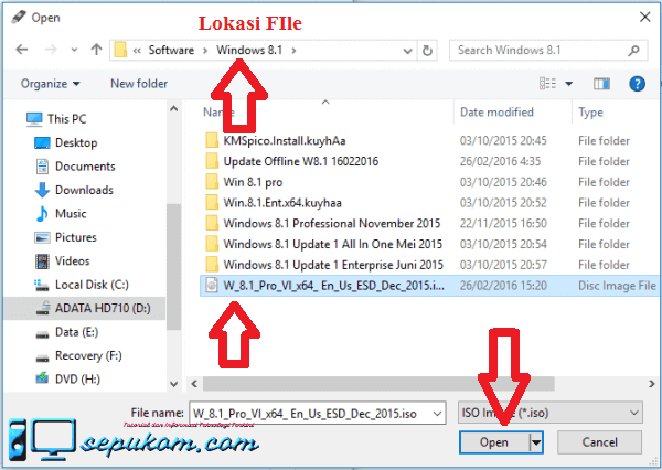 Cari Lokasi file iso windows 8.1 lalu klik open