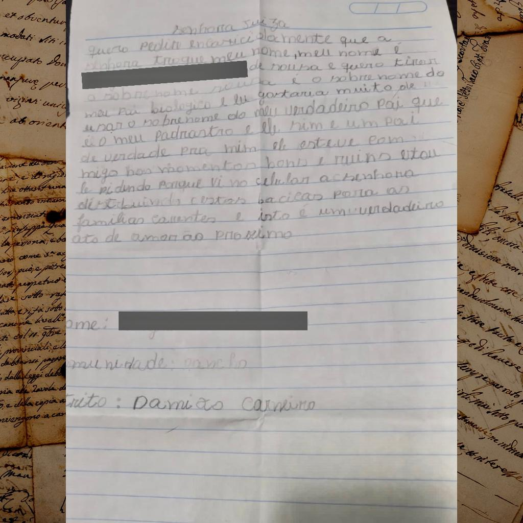 O Acaraú!: Menino de 8 anos escreve carta a juíza de Quixeramobim pedindo para trocar sobrenome e magistrada responde
