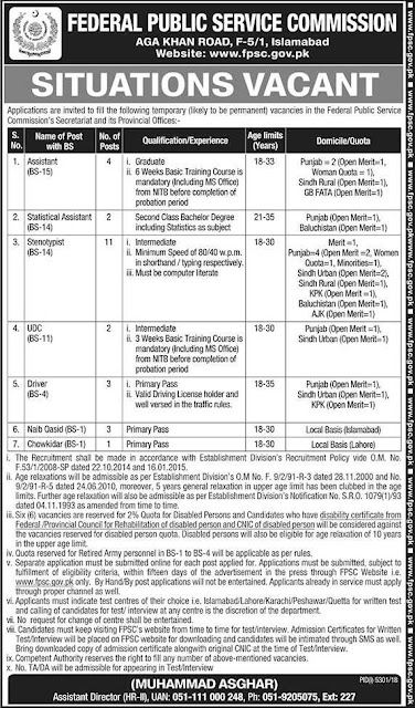 Federal Public Service Commission www.fpsc.gov.pk Jobs 2019 Apply Online