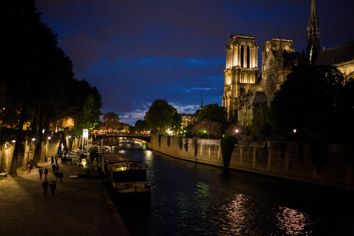 the Seine and Notre Dame at night, 48 hours in Paris
