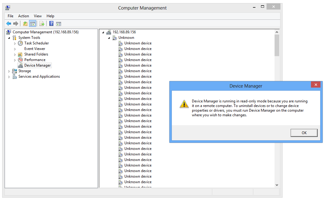 Error running device manager remotely