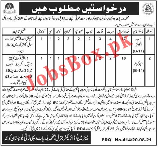 Local Government & Rural Development Department Balochistan Jobs 2021 in Pakistan