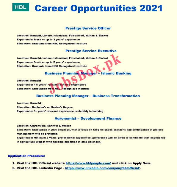 New Jobs in Habib Bank Limited HBL 2021 - Multiple Cities