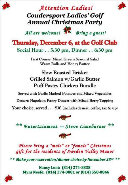 11-23/12-6 Golf Club Christmas Party