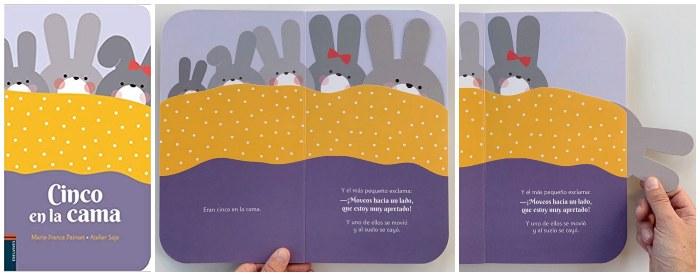 cuentos libros infantiles 0 a 3 años edad regalar navidad Cinco en la cama