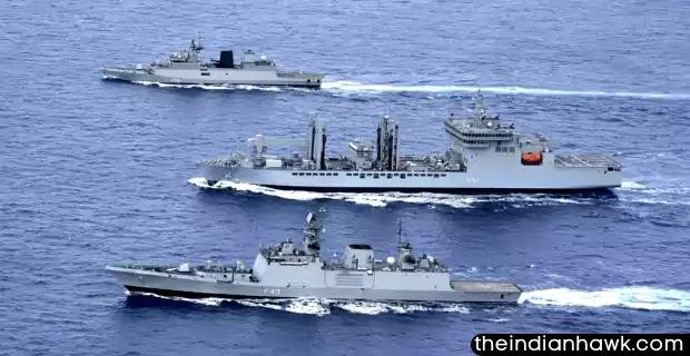 Indian Navy ships In the Ocean
