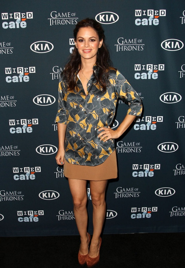 Rachel Bilson dressed in a Marc Jacobs panther-print blouse at the Wired Cafe at Comic-Con