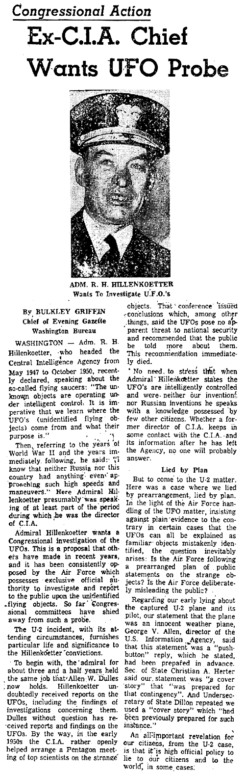Ex-CIA Chief Wants UFO Probe - Worcester Gazette (Pt 1) 6-1-1960