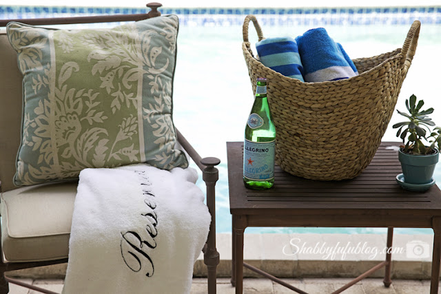 This wicker basket is perfect for the pool deck! Store towels, snacks, and tanning lotion and you're good to go.