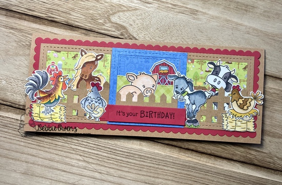 It's your birthday by Debbie features Bleat, Oink, Moo, Cluck, Neigh, Banner Trio, Land Borders, Slimline Frames & Windows, and Slimline Frames & Portholes by Newton's Nook Designs; #newtonsnook