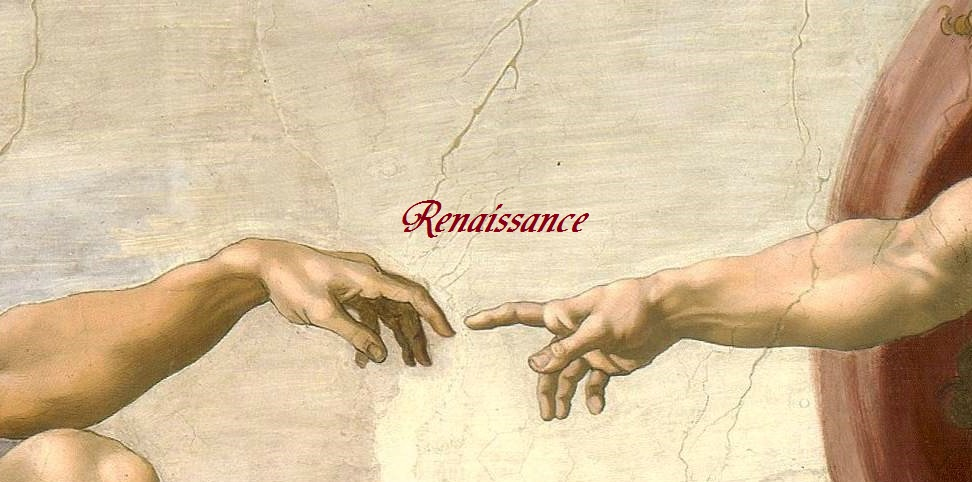 Hands of God and Adam depicted by Michelangelo in the Creation of Adam painting circa 1511.