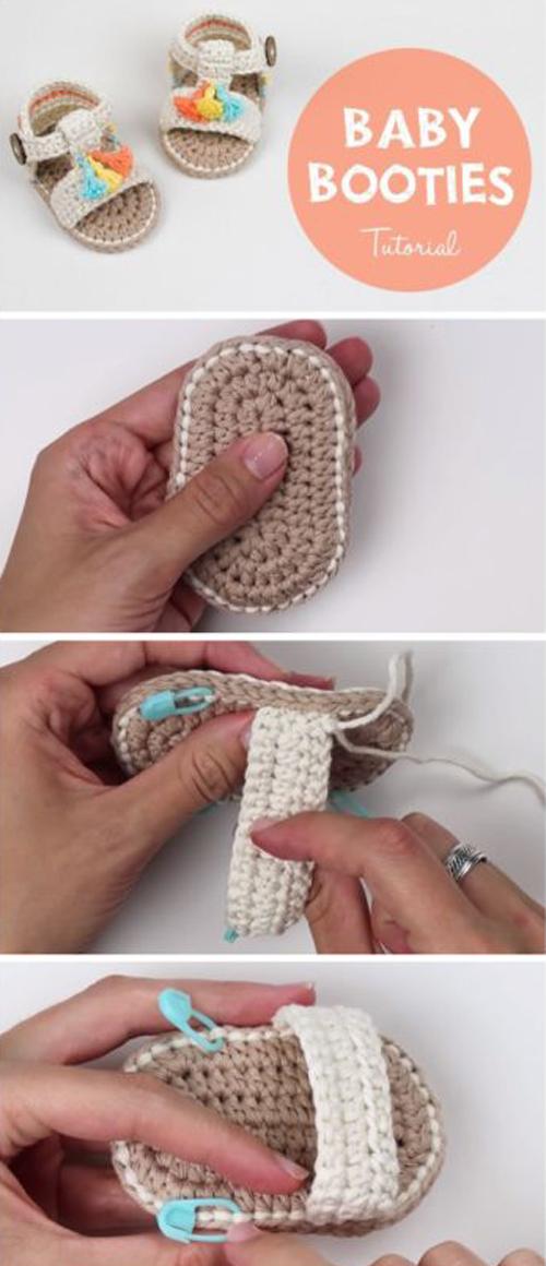 How To Crochet Baby Booties Sandals - Tutorial