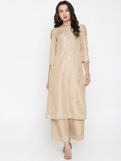 Anouk Women Beige Solid Kurta with Palazzos