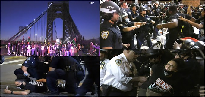 VIDEO: Manifestantes de BLM bloquean puente GWB y chocan con policías frente al cuartel 34  en Alto Manhattan