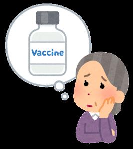 ワクチンの心配をする人のイラスト(おばあさん)