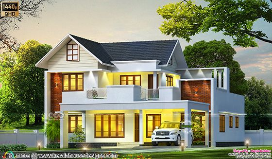 4 bedroom modern sloping roof style house